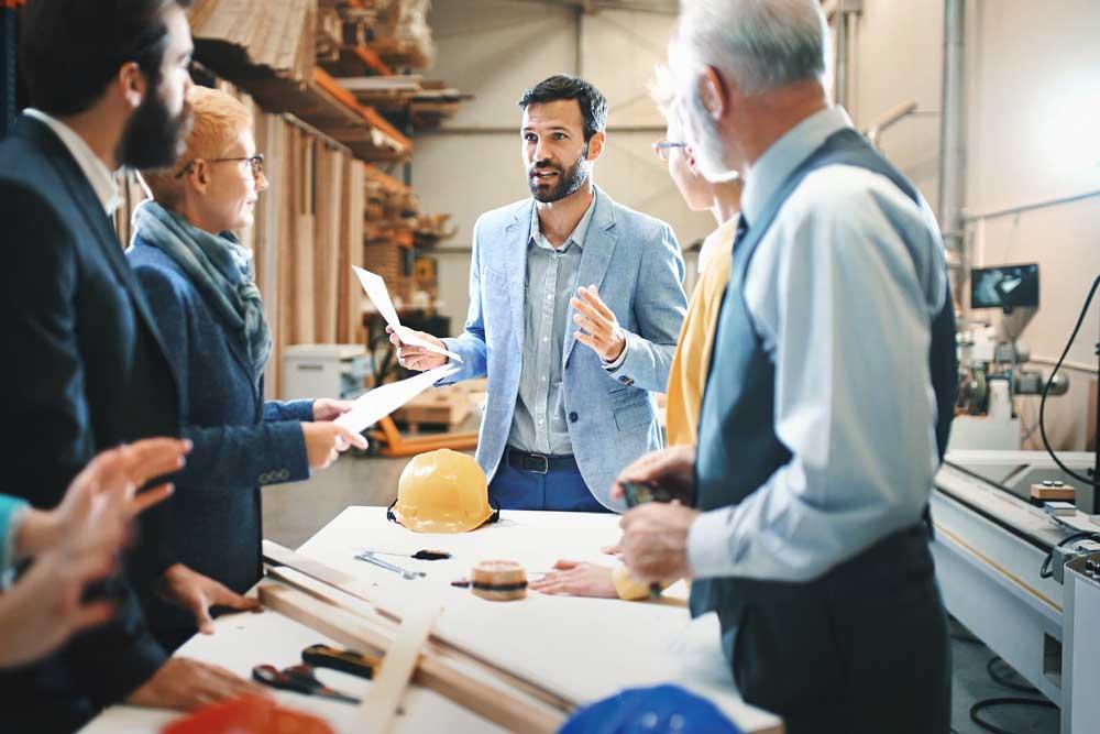 a business team discusses their plan
