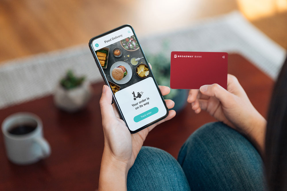 a Broadway Bank credit card is used to pay for a mobile food order