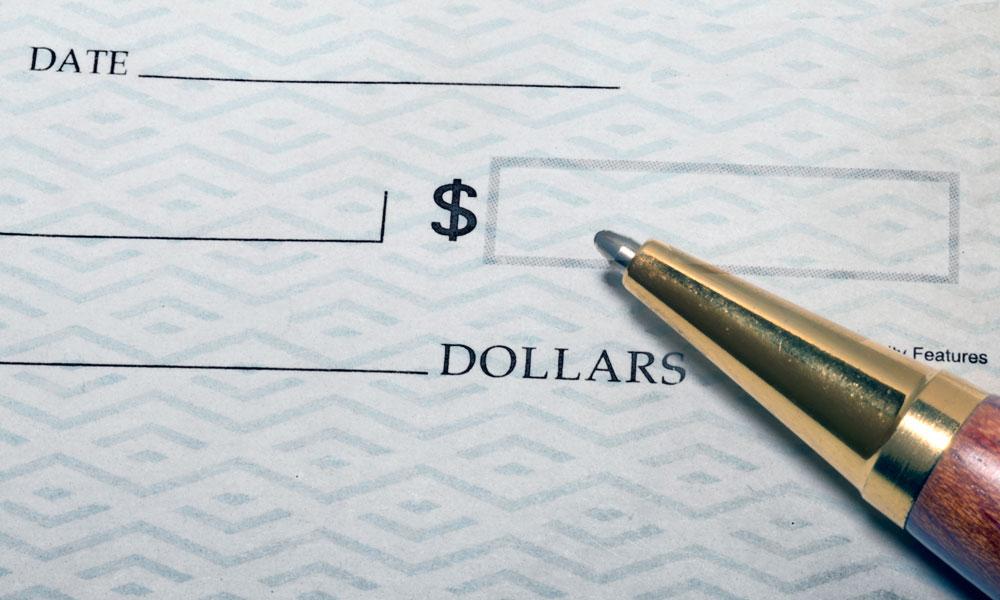 a closeup of a check