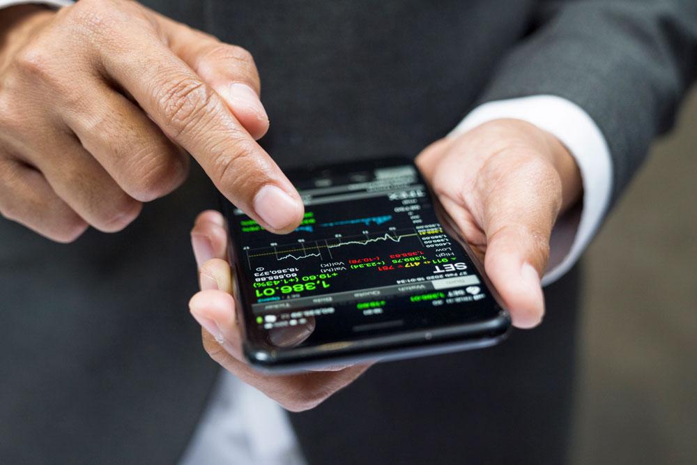 a stock app on a phone