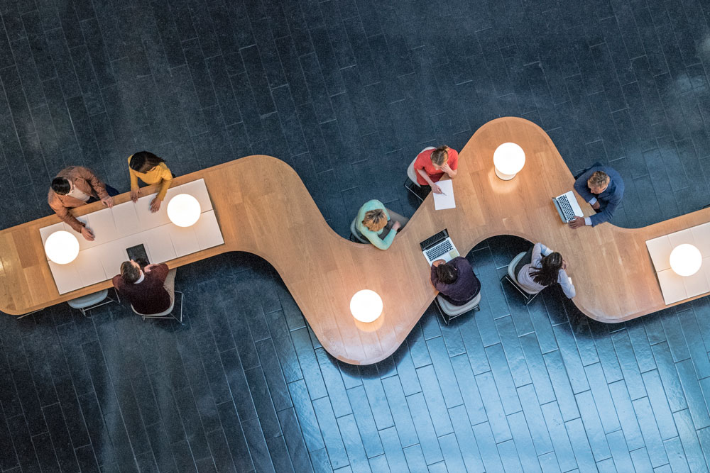 a top down view of a modern workplace