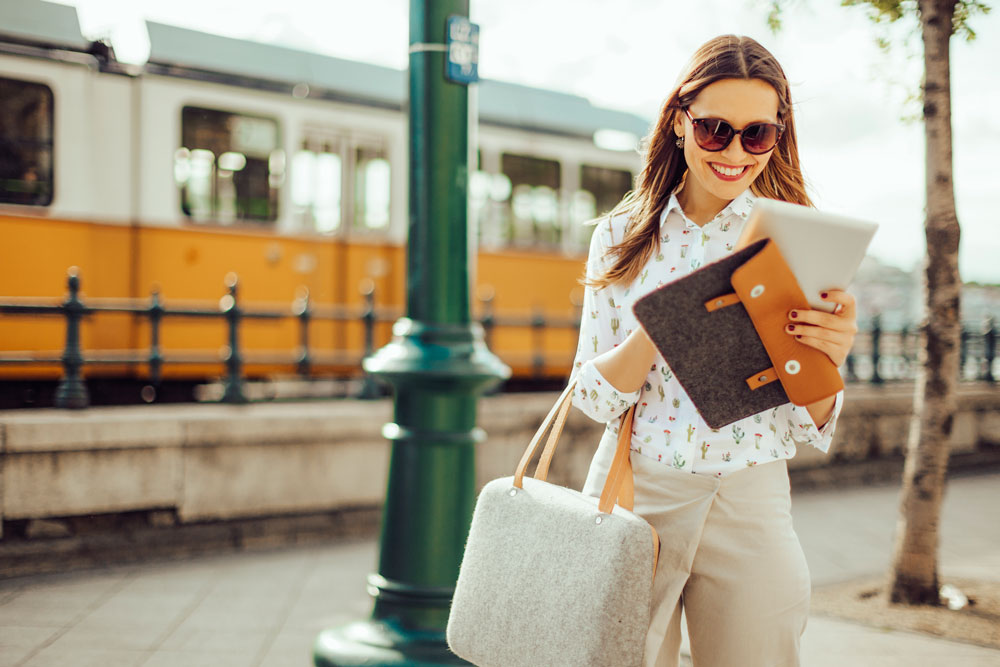 a woman travels abroad